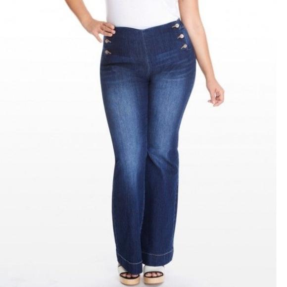 Fashion to Figure Denim - FASHION TO FIGURE sailor button flare jeans